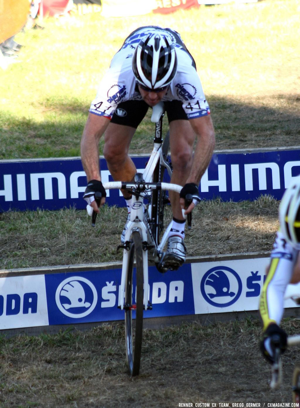 Page takes the barriers. © Renner Custom CX Team, Gregg Germer