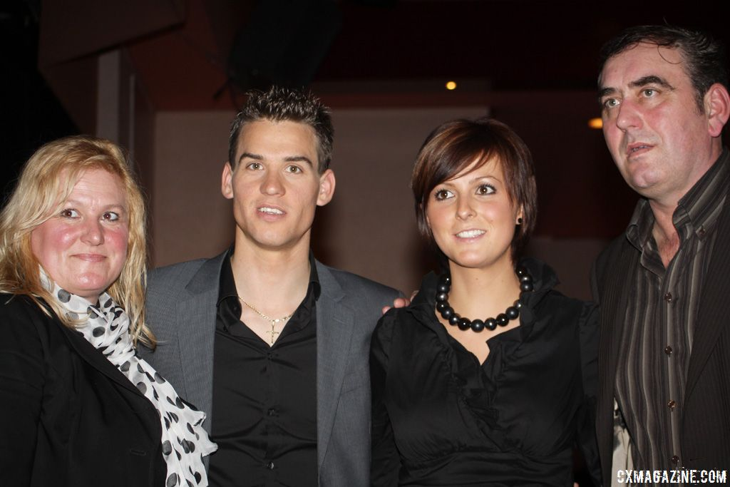Zdenek Stybar with his girlfriend Ine Vanden Bergh and his parents.