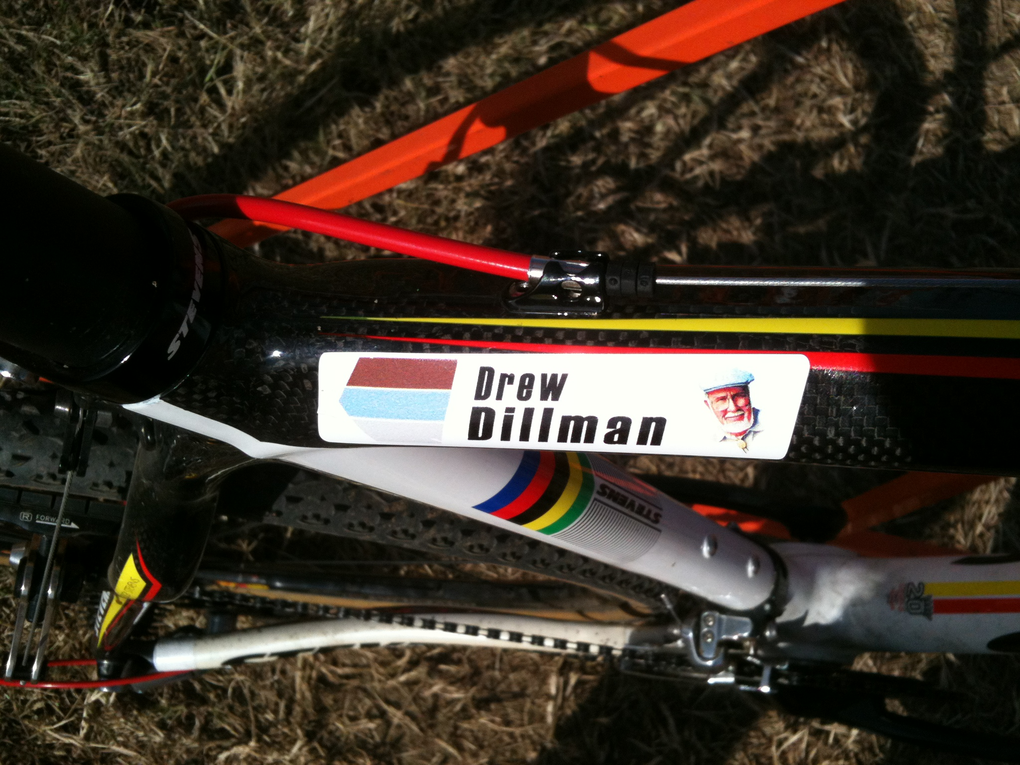 The top tube on Bob\'s Red Mill rider Drew Dillman\'s bike. ©Ray Smith