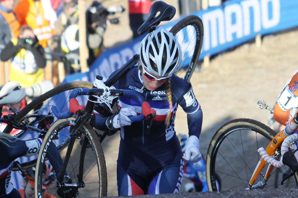 Pauline Ferrand Prevot would ride with the leaders but fade to eighth. © Bart Hazen