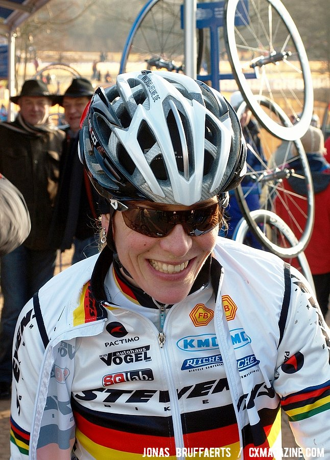 Hanka Kupfernagel looks relaxed a day before her big race.