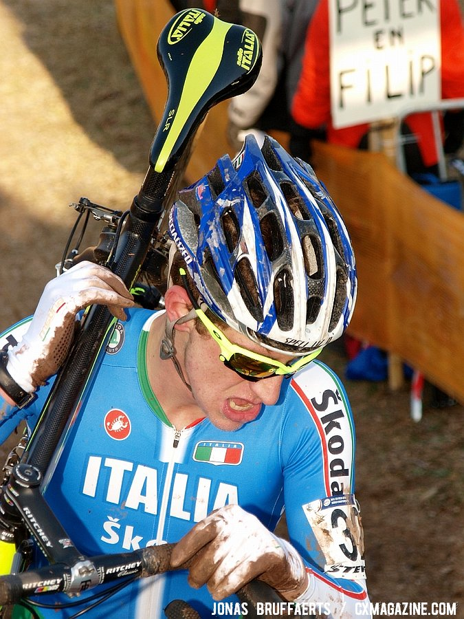 Federico Zurlo\'s gloves revealed his crashes. He\'d finish 51st.