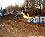 Diether Sweeck loses control on the bulldozed descent.