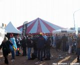Fans mingle outside the tent between racing and partying.