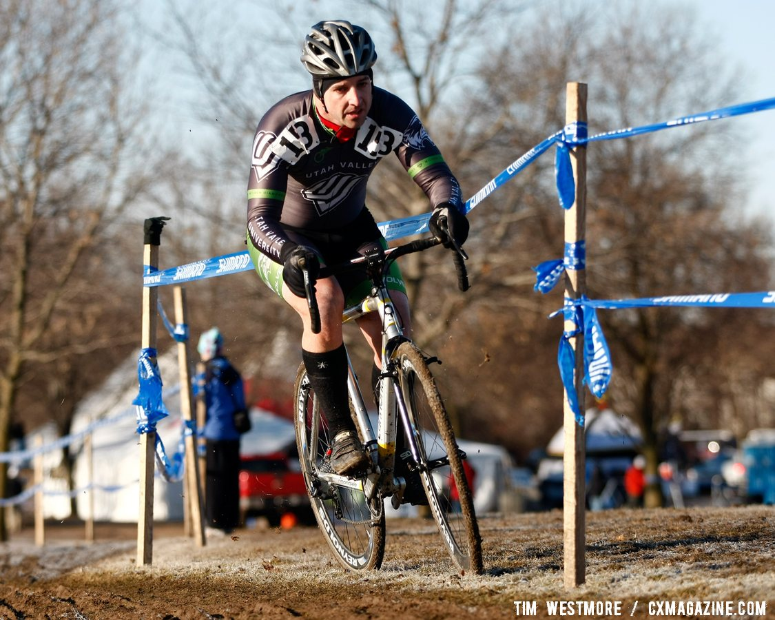 Pat Terry (Utah Valley University) finds a line just off the hard, rutted course. ©Tim Westmore