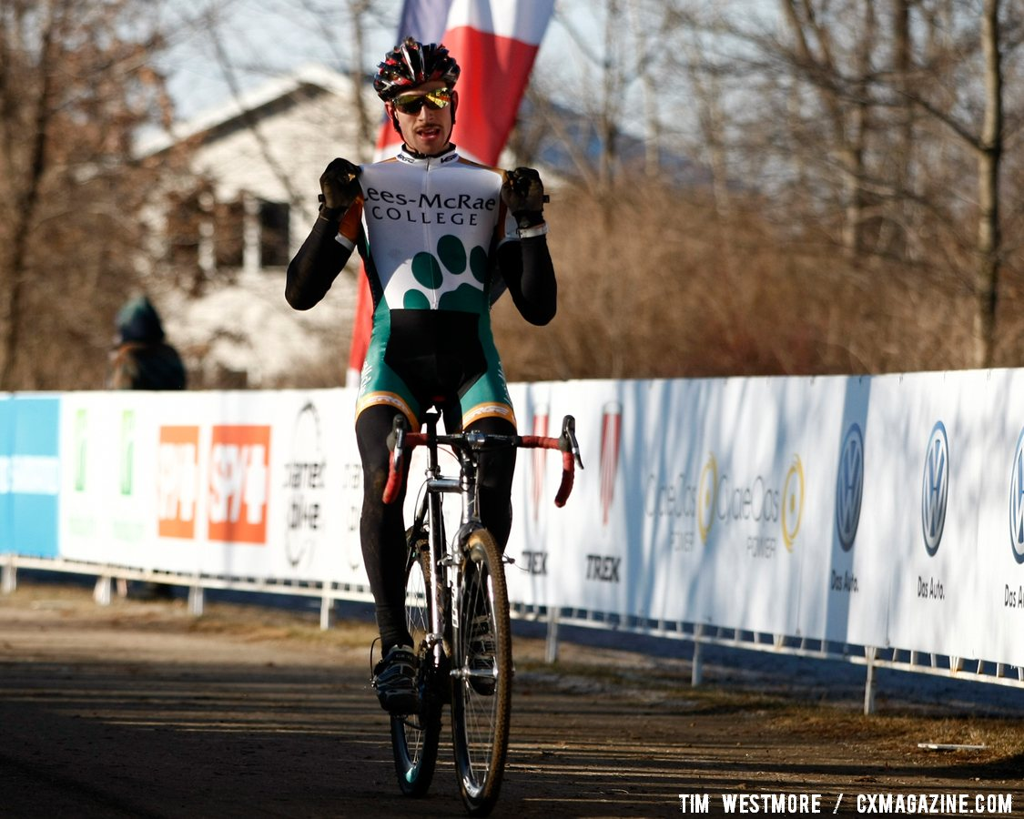 Division 1 Collegiate Men Winner Kerry Werner (Lees-McRae College) shows everybody where he goes to school ©Tim Westmore