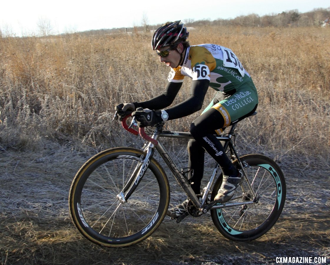 Lees McRae\'s Kerry Werner in control. 2012 Collegiate Cyclocross National Championships ©Cyclocross Magazine
