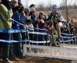 Aaron Bradford hopped the barriers to the crowd's delight. ©Cyclocross Magazine