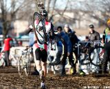 Chris Jones wrecked a rear derailleur and had to run. 2012 Cyclocross National Championships, Elite Men. ©Tim Westmore