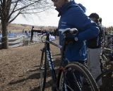 Mark Legg readies for a bike exchange in the pit. 2012 Cyclocross National Championships, Elite Women. © Cyclocross Magazine