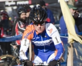 Compton took to the pits after a lap and wanted lower pressure in her tires. 2012 Cyclocross National Championships, Elite Women. © Cyclocross Magazine