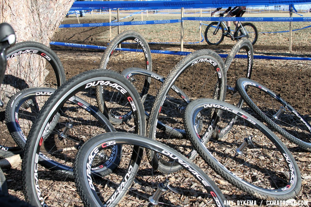 Shimano supplied spare wheels. Junior Men 17-18, 2012 Cyclocross National Championships. © Amy Dykema