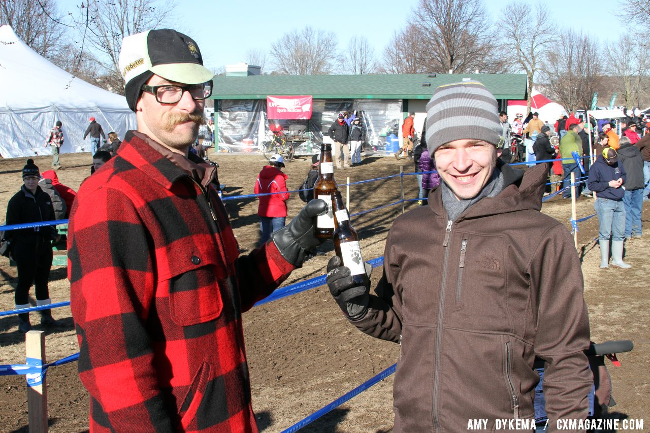 Rock Lobster riders Scott Chapin and Ben Popper enjoy some junior racing. Junior Men 17-18, 2012 Cyclocross National Championships. © Amy Dykema