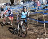 Drew Dillman leads Cypress Gorry in the chase of Logan Owen - Junior Men 17-18, 2012 Cyclocross National Championships. © Amy Dykema