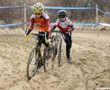 Dyland Rockwood and Max Robson take different approaches to the sand in the men's 10-12 race. ©Cyclocross Magazine