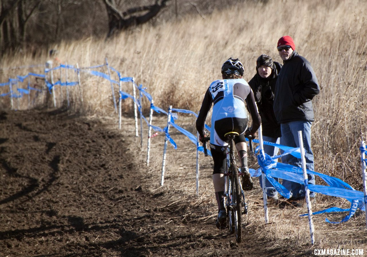 Drew Dillman on the climb chasing Owen. Junior men\'s 17-18 race, 2012 Cyclocross National Championships. © Cyclocross Magazine
