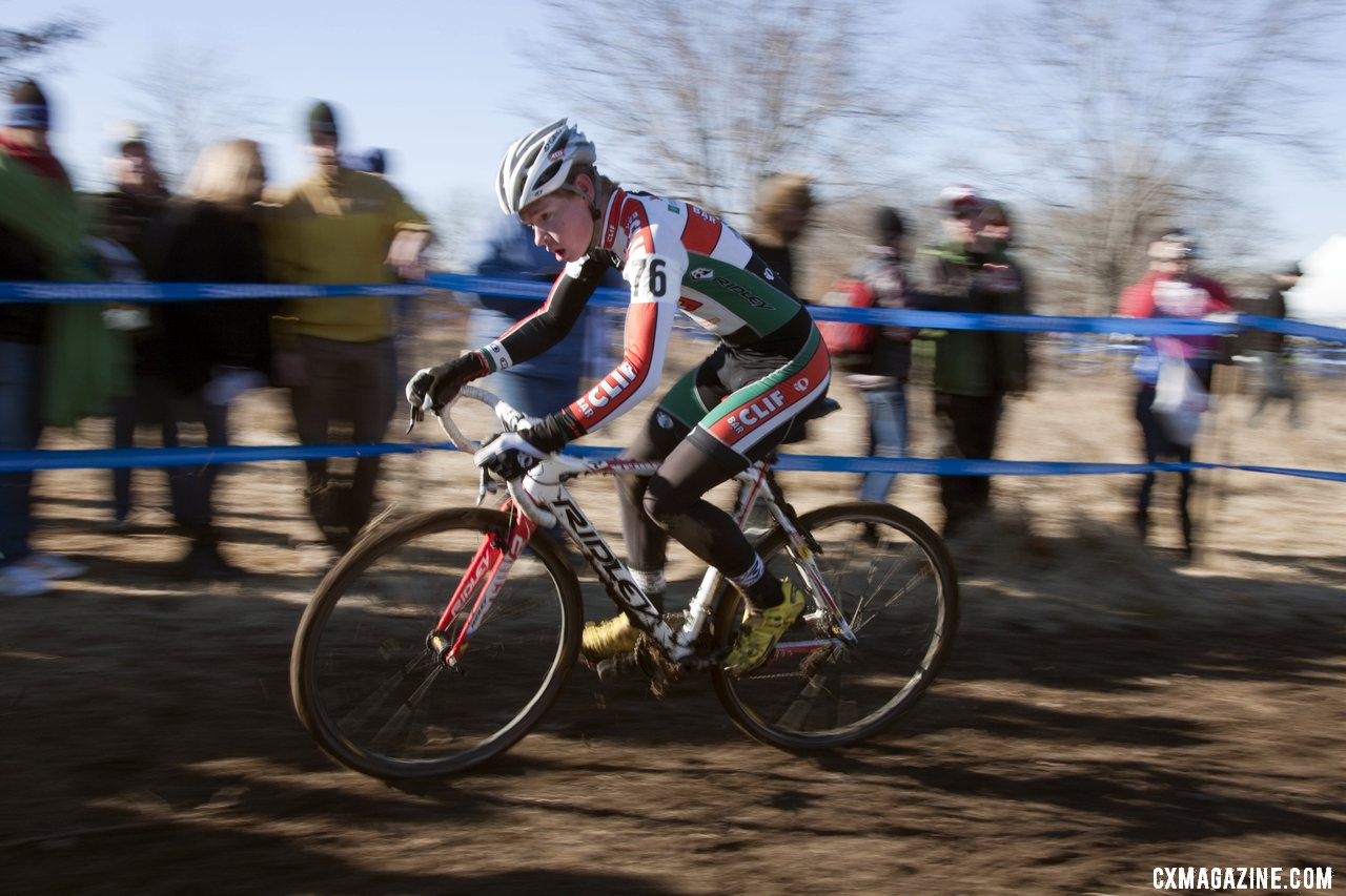 Spencer Downing from Boulder raced to 13th. Junior men\'s 17-18 race, 2012 Cyclocross National Championships. ©Cyclocross Magazine