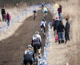 Riders hug the tape looking for a clean line. © Cyclocross Magazine