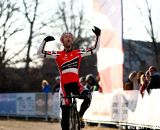 A jubilent Brian Wilichoski (Cyclocrossworld) becomes the 2012 National Cyclocross Champion for Master Men 35-39. ©Tim Westmore