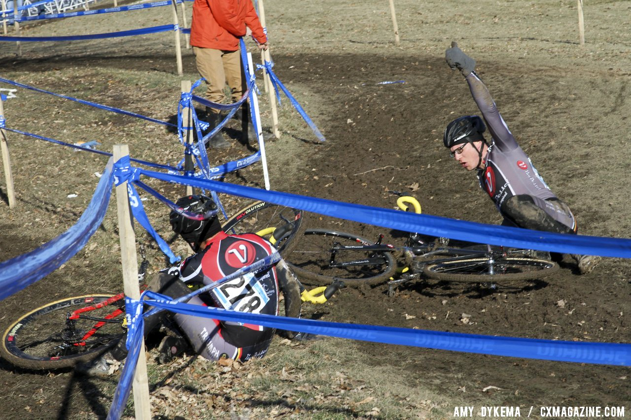 The course had a few areas where oncoming traffic could collide, as these Van Dessel teammates found out in the slippery conditions.  ©Amy Dykema