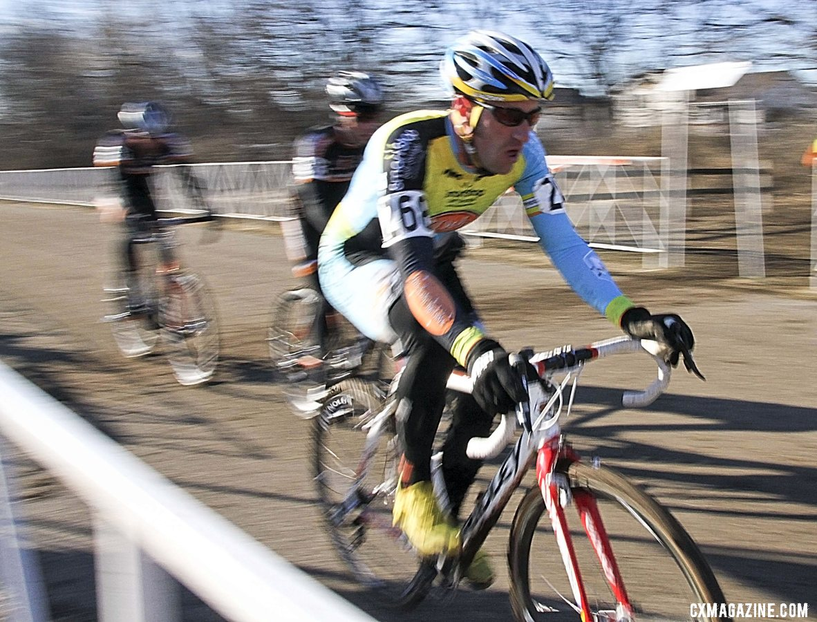 Myerson leading the Boulder Cycle Sport teammates on the pavement on the first lap. 2012 Cyclocross National Championships, Masters Men 40-44. © Cyclocross Magazine