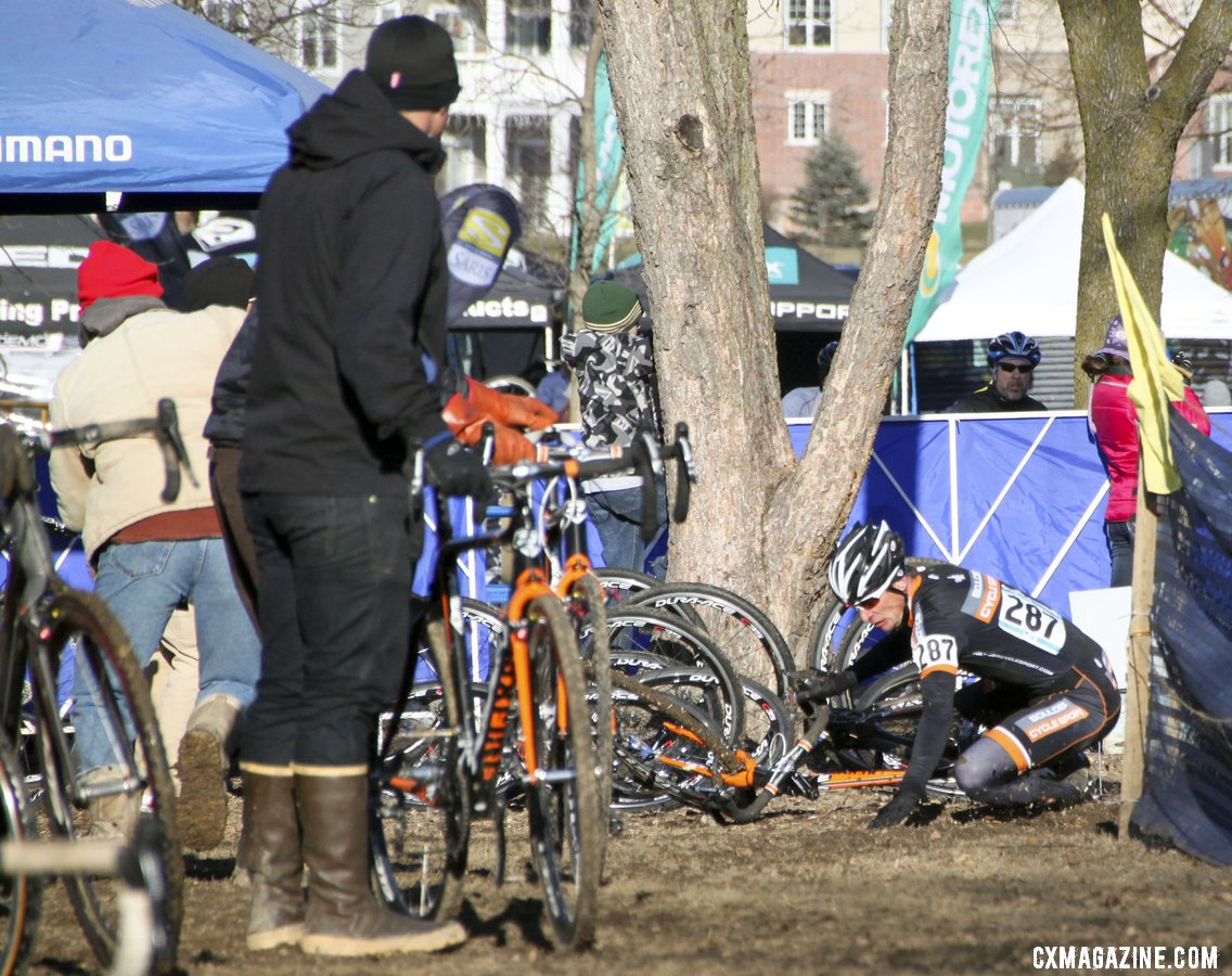 Webber took a tumble heading into the pits but stayed ahead of Myerson. 2012 Cyclocross National Championships, Masters Men 40-44. © Cyclocross Magazine