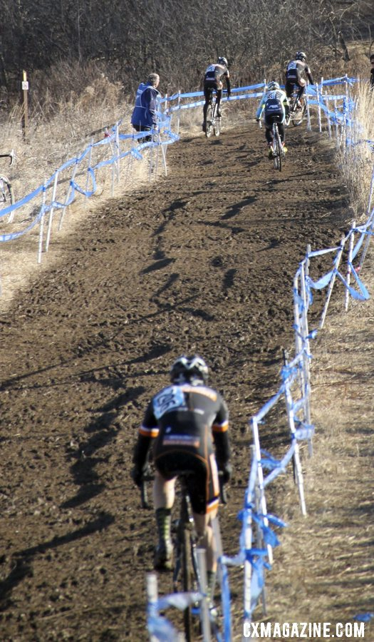 Three Boulder Cycle Sport racers surround Adam Myerson.  © Cyclocross Magazine