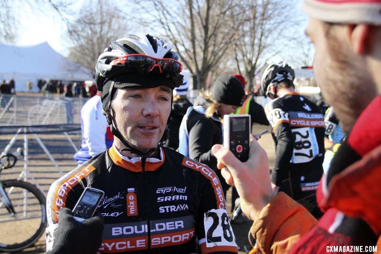 Dwight being interviewed by Cyclocross Magazine\'s Chriss Bagg. 2012 Cyclocross National Championships, Masters Men 40-44. © Cyclocross Magazine