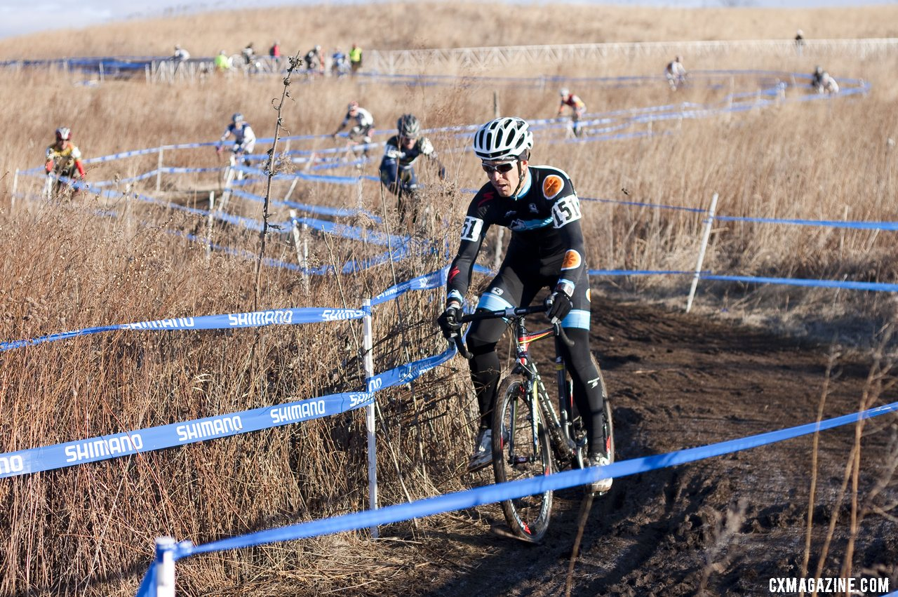 David Weber (Rocky Mounts) leads a long string of Masters Men from the 45-49 race at the 2012 Nationals. © Cyclocross Magazine