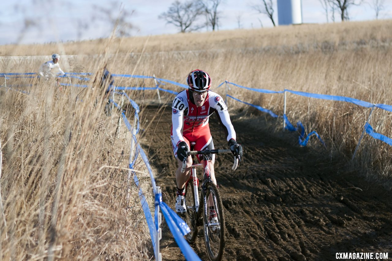 Gannon Myall overcame a back row start to finish fourth in what many called the ride of the day. © Cyclocross Magazine