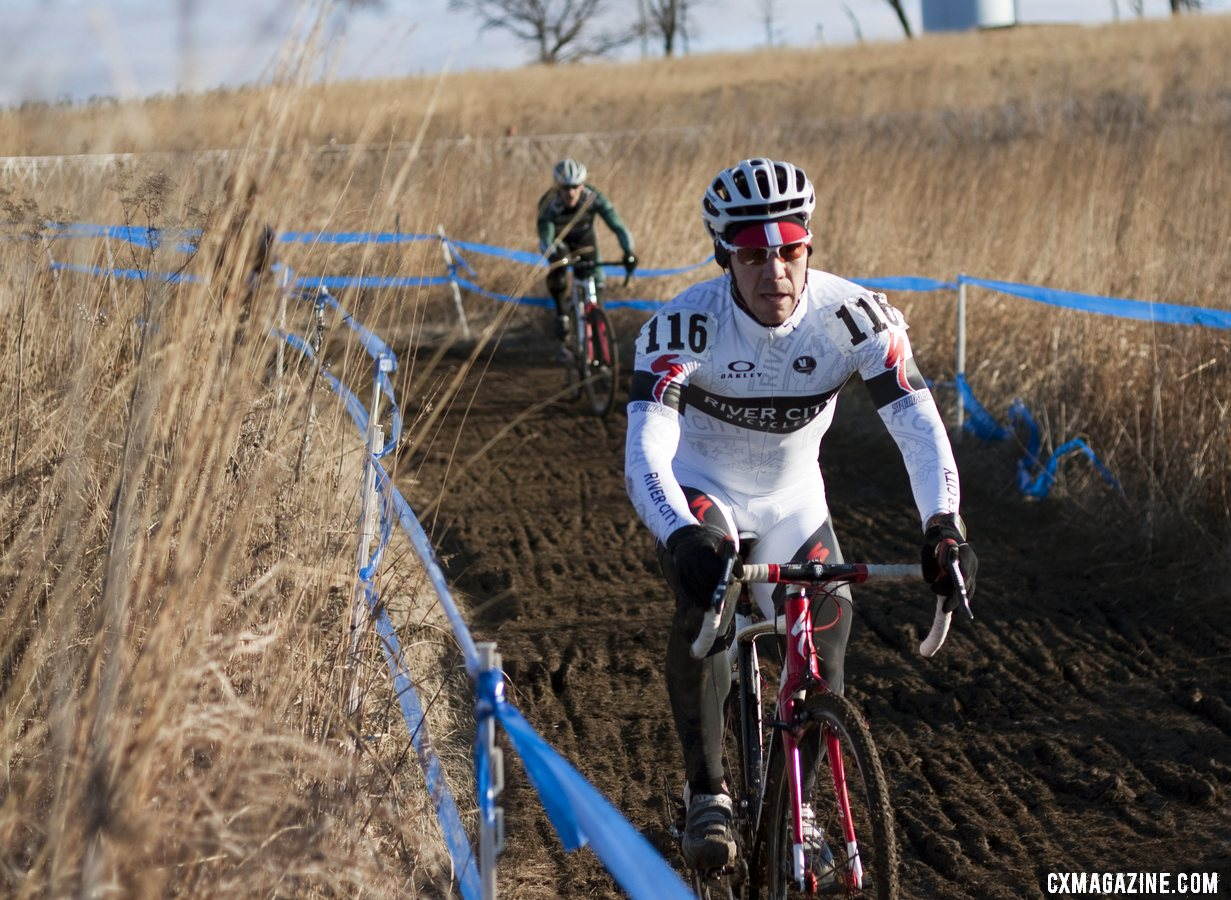 Tim Butler (River City Bicycles), husband of the more famous Sue Butler, finished 6th after a fast start. Masters Men 45-49, 2012 Nationals. © Cyclocross Magazine