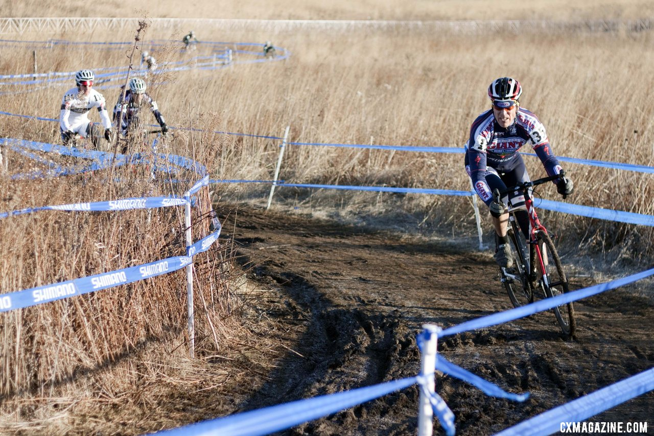 Jon Mondelius (Cal Giant) leads teammate James Coats and Tim Butler (River City Bicycles) in the chase for third place on the first lap. ©Cyclocross Magazine