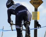Jon Cariveau would have liked to obey this sign, but a title chase was underway. Masters Men 45-49, 2012 Nationals. © Cyclocross Magazine