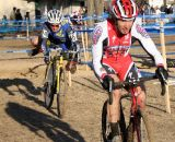 Norm Kreiss leads Curley out of the sand on lap one at the 2012 Cyclocross National Championships, Masters 55-59. © Cyclocross Magazine