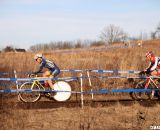 Race winner Paul Curley powers towards the finish with Kreiss in tow on lap one. 2012 Cyclocross National Championships, Masters 55-59. © Cyclocross Magazine