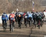 Even with small fields, the race for the holeshot is serious. 2012 Cyclocross National Championships, Masters Men Over 60. © Cyclocross Magazine