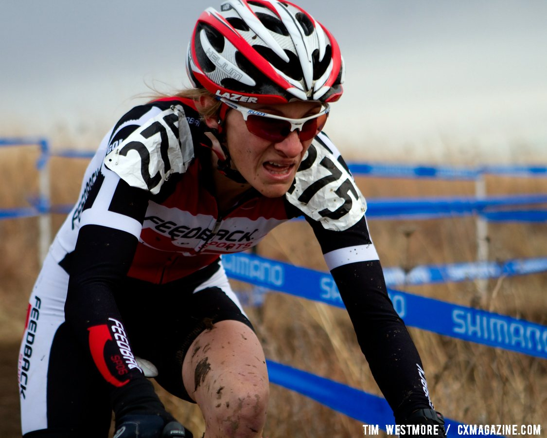 Lisa Hudson battles the mud to a 7th place finish.  © Cyclocross Magazine