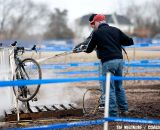 A bike gets washed down after the Masters Women 35-39 race. © Cyclocross Magazine