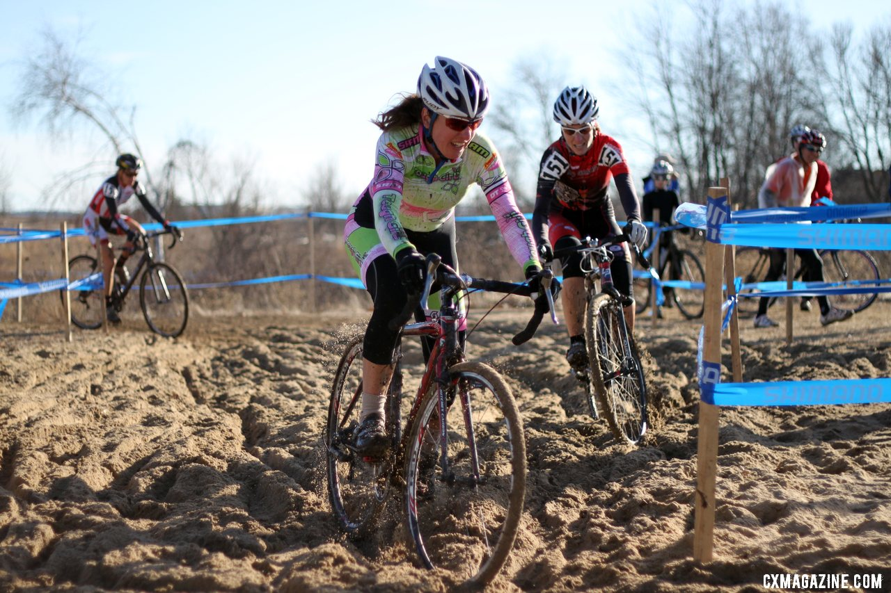 Racers and lines converged in the sand pit - 2012 Cyclocross National Championships, Masters Women 40-44. © Cyclocross Magazine