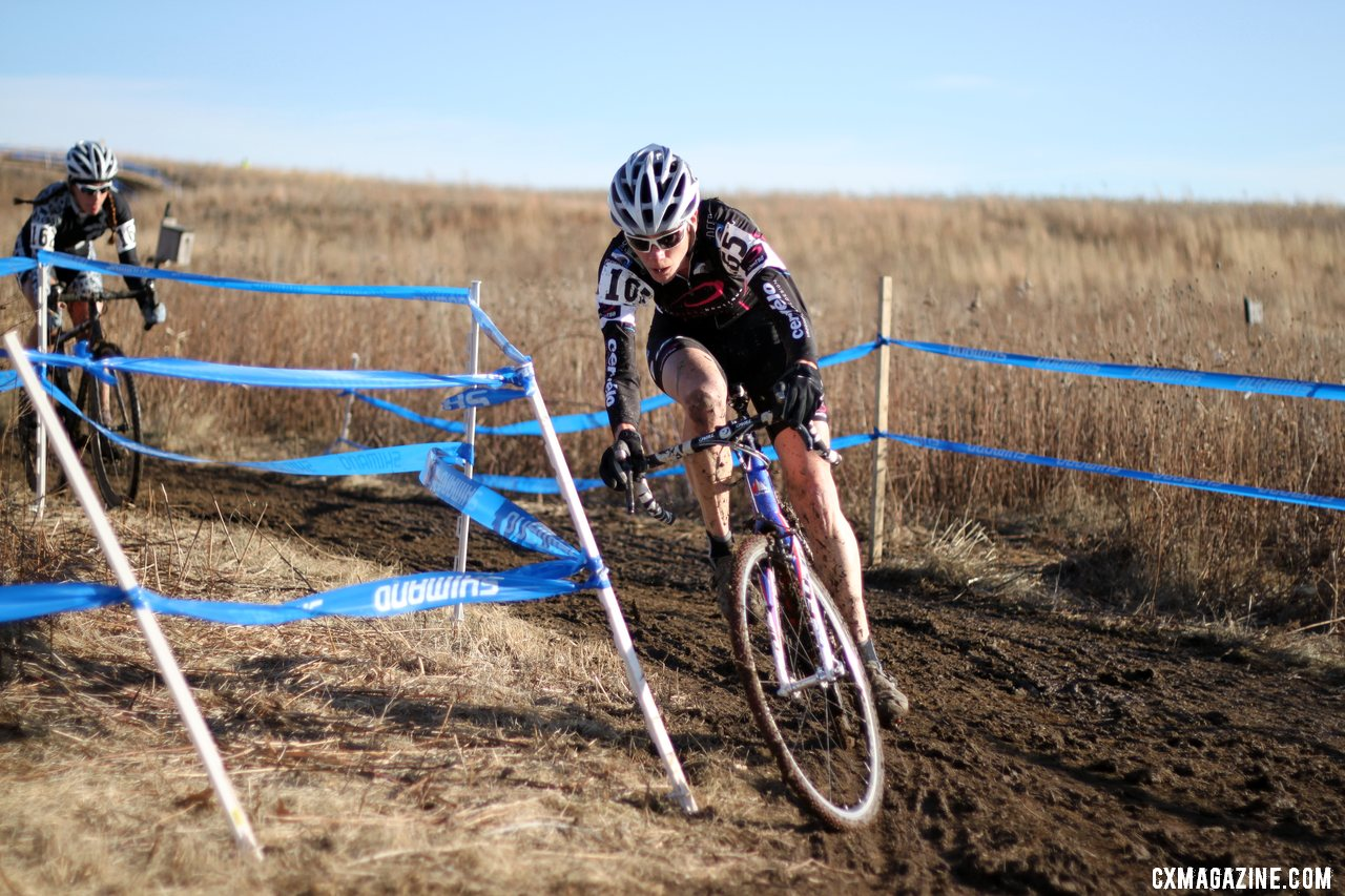 Katrina Dowidchuk slides but recovers before the barriers. 2012 Cyclocross National Championships, Masters Women 40-44. © Cyclocross Magazine