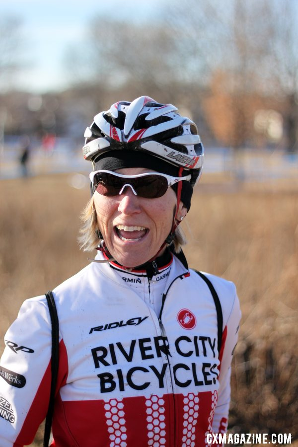 Sue Butler stopped by cheer her friends and check out the course. She was pleased!2012 Cyclocross National Championships, Masters Women 40-44. © Cyclocross Magazine