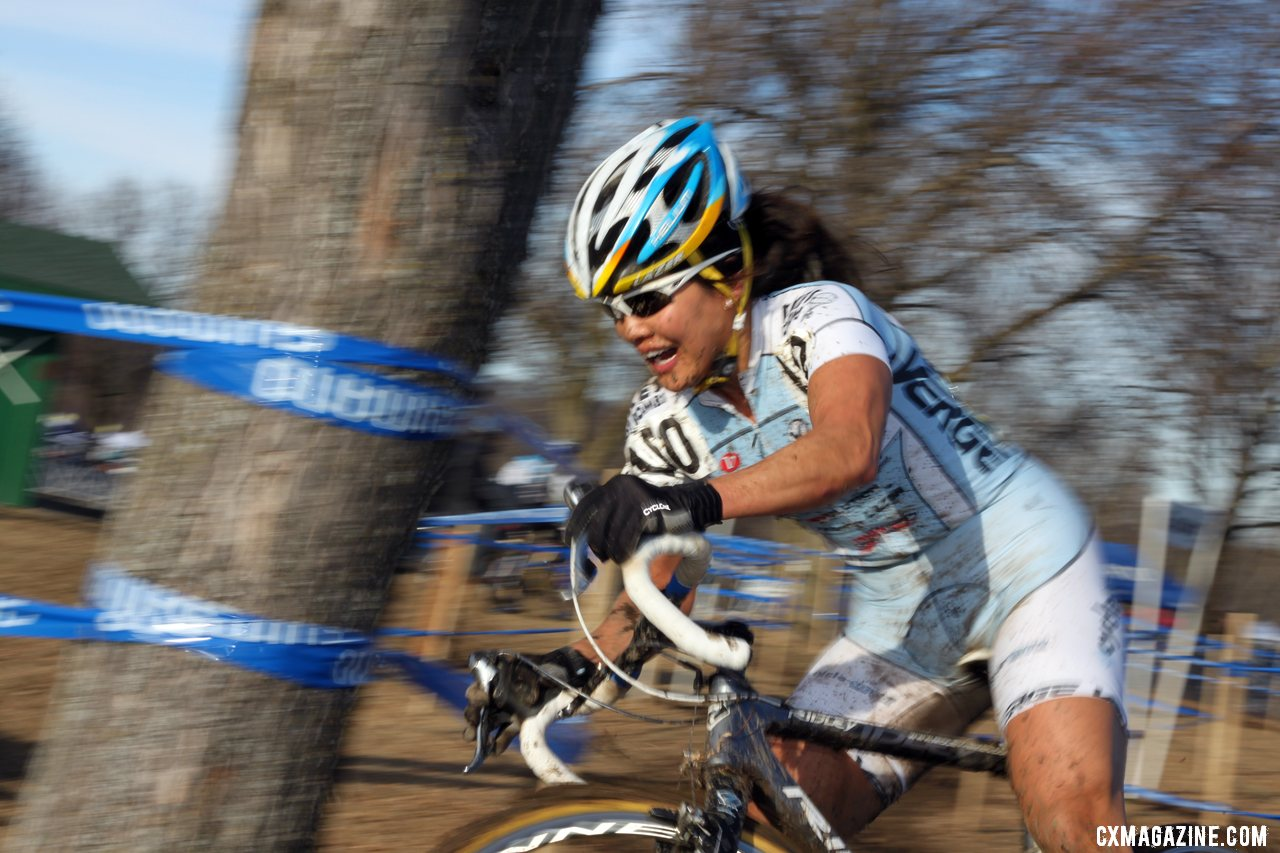 Greasy corners took down Sone more than once. 2012 Cyclocross National Championships, Masters Women 40-44. © Cyclocross Magazine