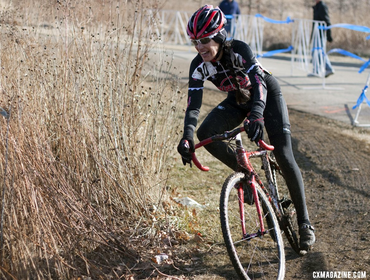 Antonia Leal was all smiles during her silver medal ride. 2012 Cyclocross National Championships, Masters Women Over 45. © Cyclocross Magazine