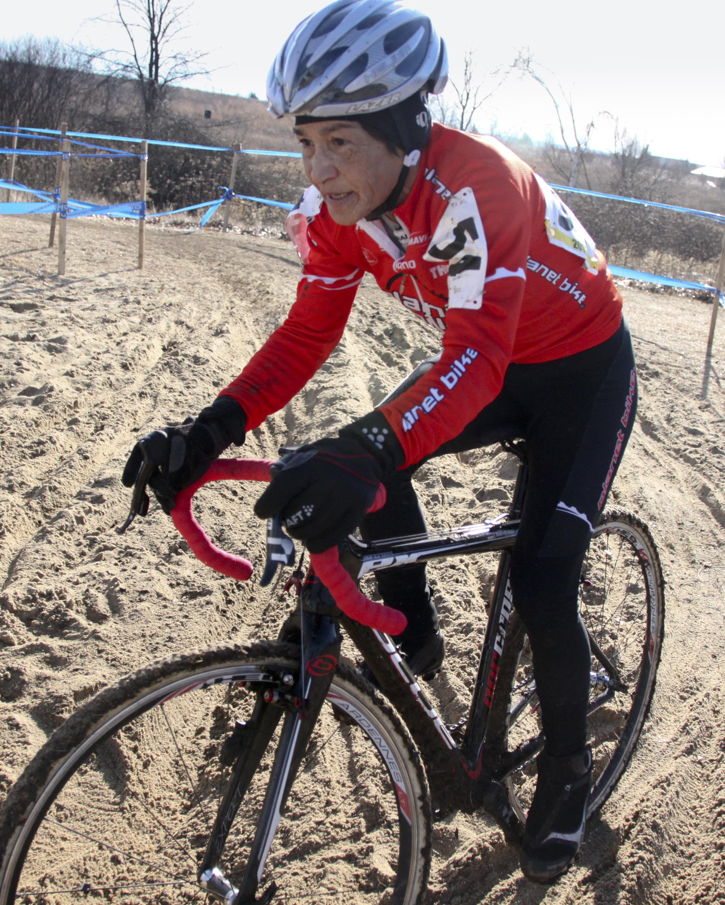 Diane Ostenso was superb in the sand. 2012 Cyclocross National Championships, Masters Women Over 55. © Cyclocross Magazine