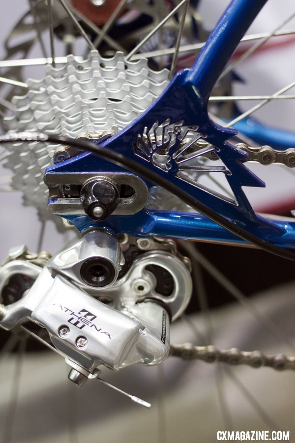 Peacock Groove shows off its intricate, aggressive logo at the rear dropouts. NAHBS 2012.  ©Cyclocross Magazine