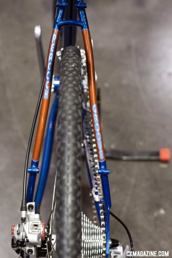 Full rack or fender mounts makes this petite bike a versatile machine. Peacock Groove at NAHBS 2012.  ©Cyclocross Magazine