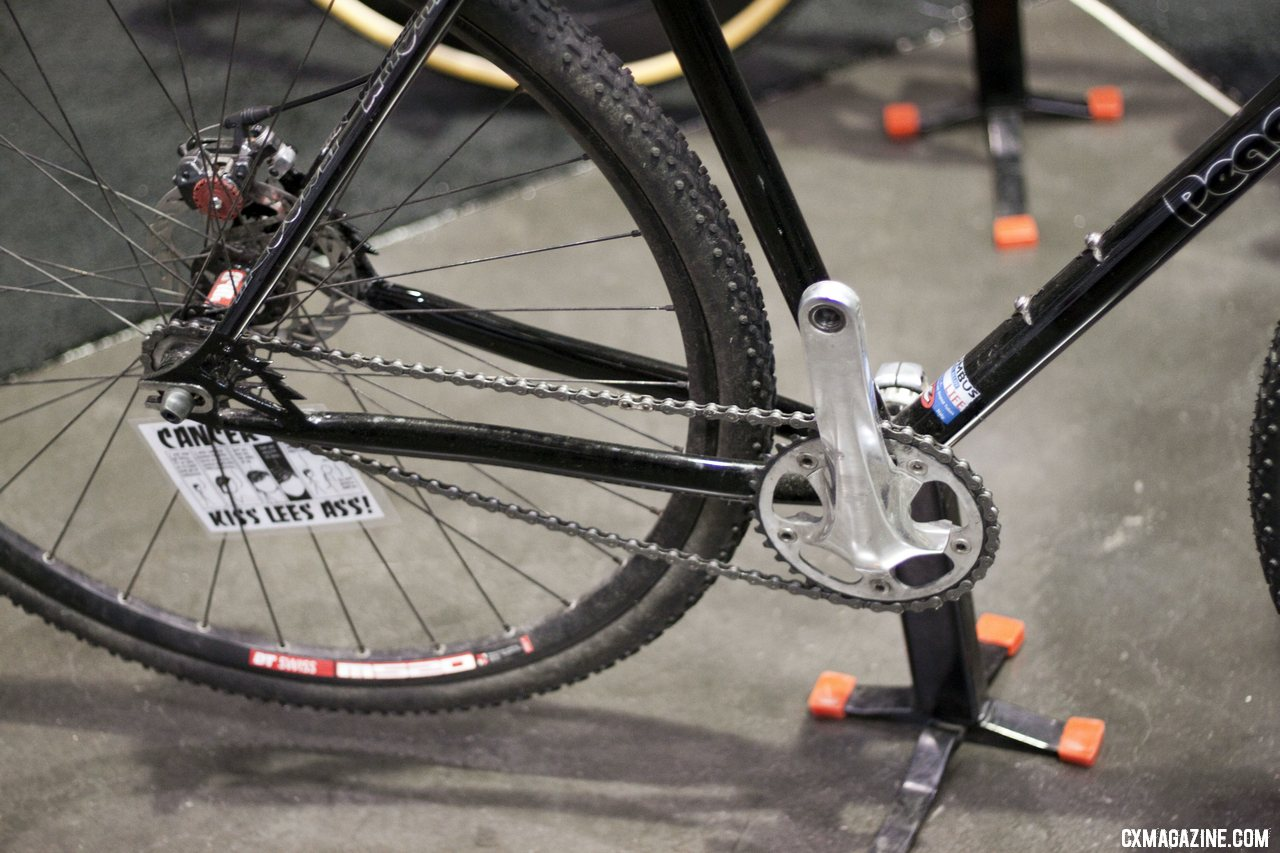 Peacock Groove\'s Avid BB7 disc-brake equipped singlespeed. NAHBS 2012.  ©Cyclocross Magazine