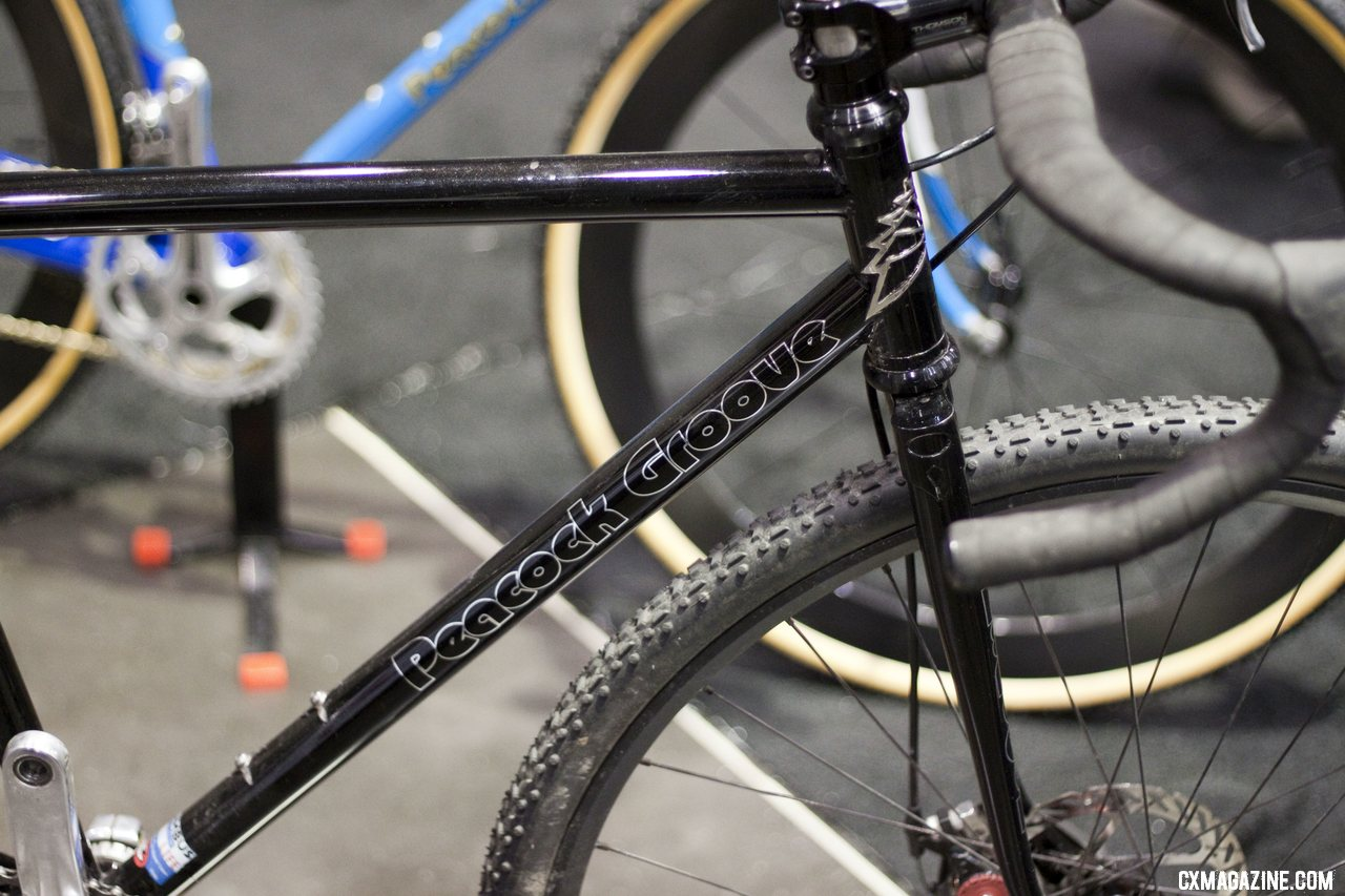 Peacock Groove\'s black disc-equipped singlespeed was one the simplest of the three cyclocross bikes on display.  NAHBS 2012.  ©Cyclocross Magazine