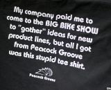 Peacock Groove shows its sense of humor with these tees at NAHBS 2012.  ©Cyclocross Magazine
