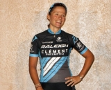 Caroline Mani proudly models the new Raleigh/Clement team jersey. © Cyclocross Magazine